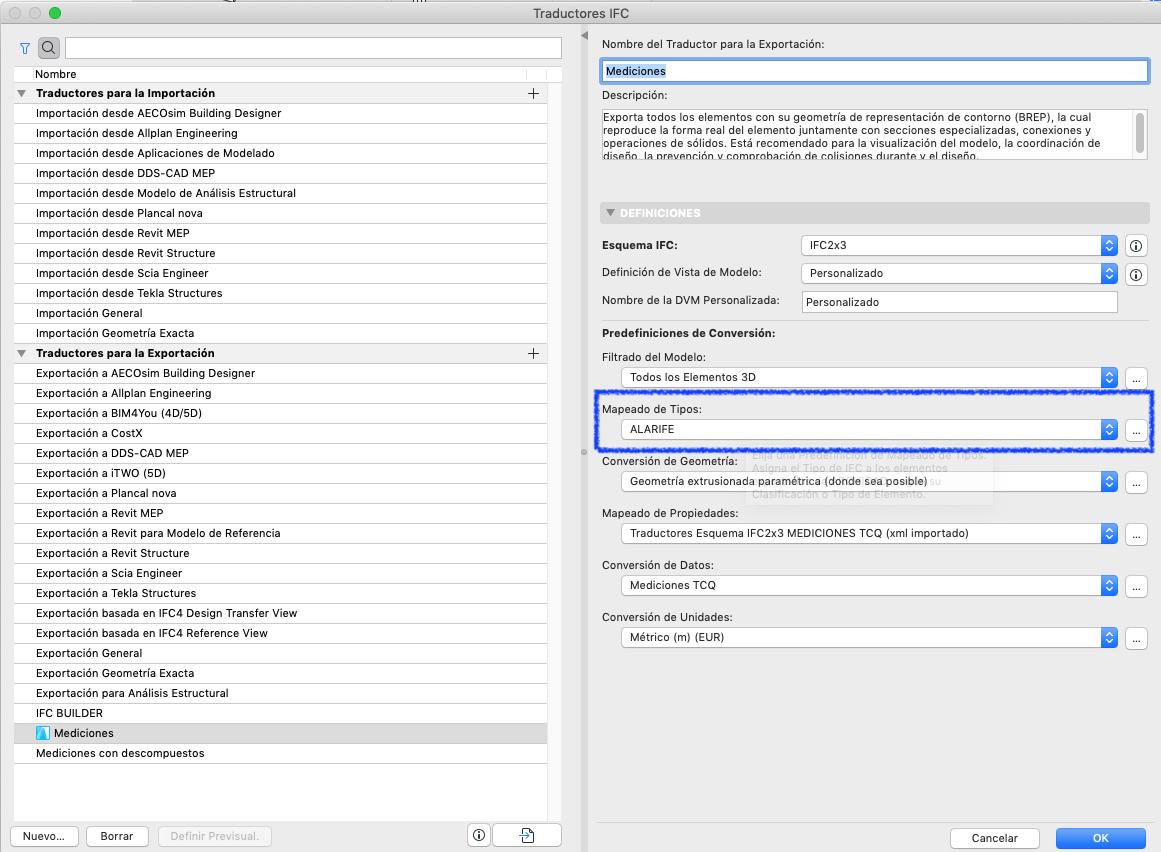 RE: Cómo establecer un IFC Type con clasificaciones personalizadas en Archicad