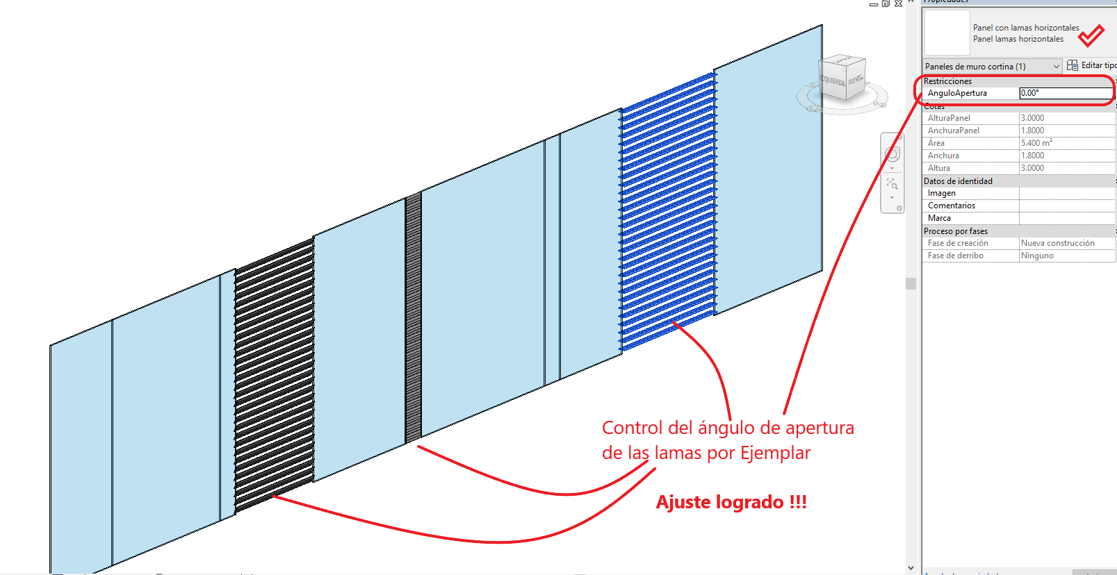 Muro cortina con paneles de lamas horizontales