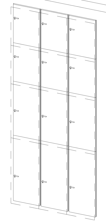 Puerta convertida en panel de muro cortina.