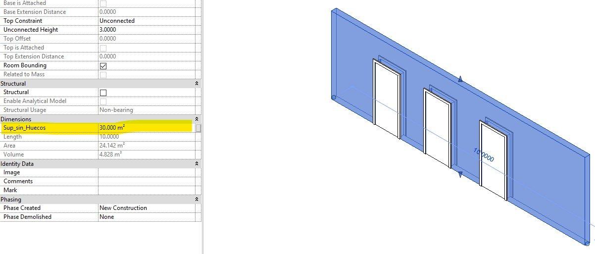 RE: ¿Cómo hacer que no se descuenten los vacíos de las puertas en las cuantificaciones de muros en Revit?