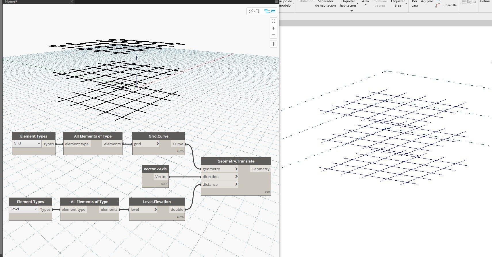 RE: ¿Visualización grilla en vistas 3D Revit con Dynamo?